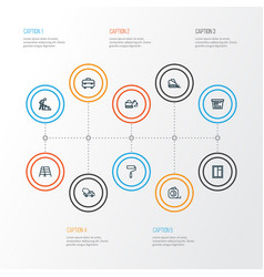 Building outline icons set collection of color vector
