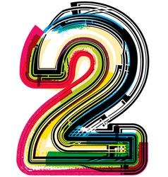Colorful Grunge font NUMBER 2 vector image
