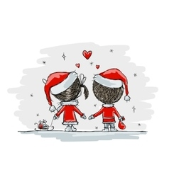 Couple in love together christmas vector image vector image