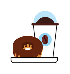 Delicious coffee with donut vector