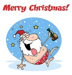 Drunk santa cartoon vector