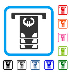 Euro atm withdraw framed icon vector