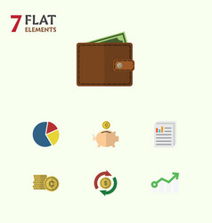 flat icon incoming set of billfold graph money vector image