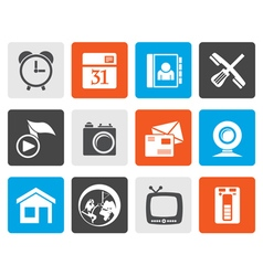Flat mobile phone and computer icons vector image vector image