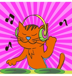 Ginger tabby cat wearing headphones spinning music vector