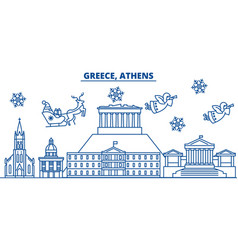 greece athens winter city skyline merry vector image