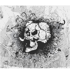 Grunge background with skull vector