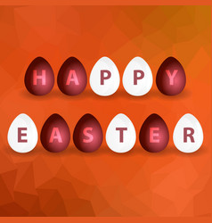 happy easter from red and white egg on abstract vector image
