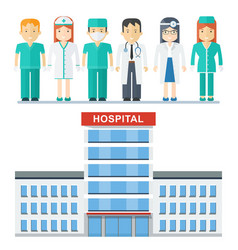 hospital and medical staff vector image