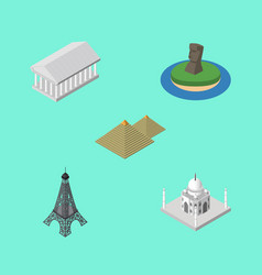 Isometric architecture set of chile paris athens vector