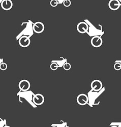 Motorbike icon sign seamless pattern on a gray vector