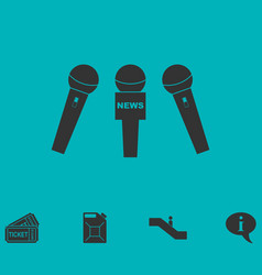 News microphone icon flat vector