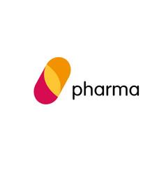 Pharmacy logo medicine capsule tablet design vector