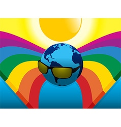 Planet earth with sunglasses on crossing rainbows vector