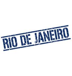 Rio de janeiro blue square stamp vector