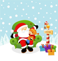 Santa With Kid vector image vector image