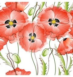 Seamless background with red poppy flowers vector