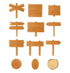 Set of different wooden signboards planks vector