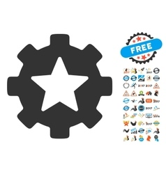 Star Favorites Options Gear Icon With 2017 Year vector image vector image
