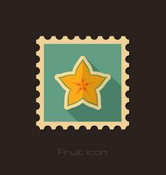 Starfruit carambola carom stamp tropical fruit vector