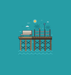 Wooden jetty or sea pier on seaside vector