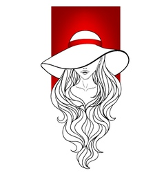 Young girl in a vintage hat vector image
