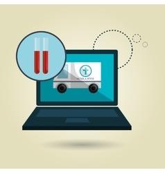 Ambulance health laptop icon vector