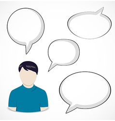 Man and speech bubbles vector