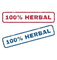 100 percent herbal rubber stamps vector