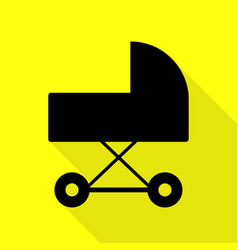 Pram sign black icon with flat style vector