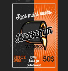 Color vintage blacksmith banner vector