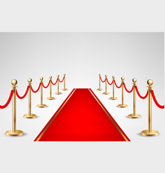 Realistic red event carpet and gold vector