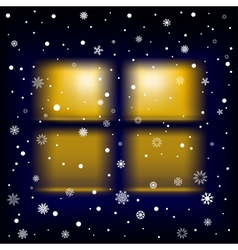 Snow night window vector