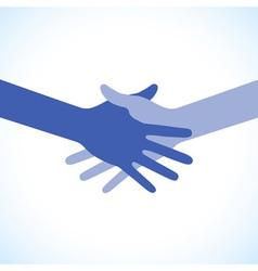 Blue icon hand shake for business and finance vector