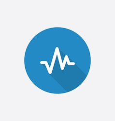 Pulse flat blue simple icon with long shadow vector