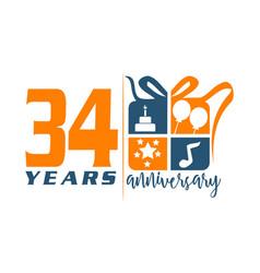 34 year gift box ribbon anniversary vector