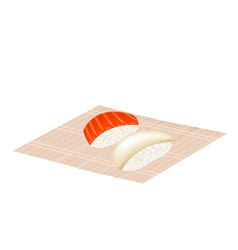 Salmon nigiri and squid nigiri on bamboo mat vector