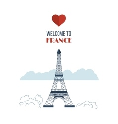 Flat design paris france with eiffel tower vector