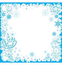 Blue winter frame with christmas elements vector