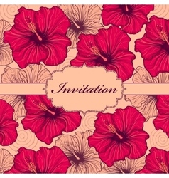 Colorful hand drawn floral invitation card vector