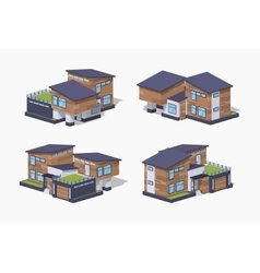 Low poly contemporary american house vector