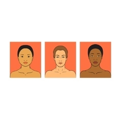 Beautiful girls of different races different skin vector