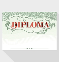 Diploma design template in baroque style vector