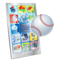 Baseball ball flying out of cell phone vector