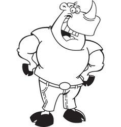 Cartoon rhino wearing jeans vector image vector image