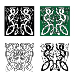 Celtic twisted dragons in tribal style vector image vector image