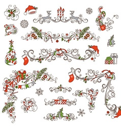 Christmas page dividers and decorations isolated vector