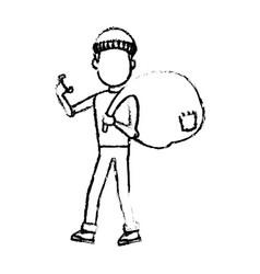 computer hacker man character system thief vector image