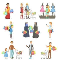Different People In Shopping Mall vector image vector image