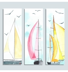 Flyers with watercolor sailboats vector